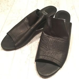 EILEEN FISHER Juju Leather Heeled Sandal Mule 6.5